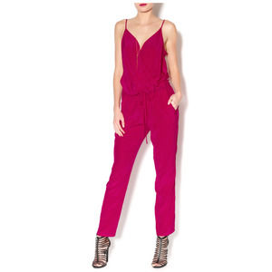 Rory Beca Hot Pink 100% Silk Wrap Jumpsuit